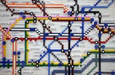 London Underground maps made from 1,000 Lego bricks. The maps mark progress of the Tube from 1927 to the present day and beyond to what the underground will look like in 2020.