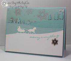 Jingle All The Way - Stamp With Amy K I used the new Stampin' Up! Jingle All the Way stamp set and Sleigh Ride Edgelits Bundle from the upcoming 2015 Holiday Catalog to create my card to share today. Stamped Christmas Cards, Christmas Cards To Make, Noel Christmas, Xmas Cards, Holiday Cards, Handmade Christmas, Scrapbook Cards, Scrapbooking, Stampin Up Weihnachten