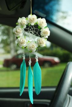 Something a little different - and it would make a lovely gift! Aqua Flower Dreamcatcher: Car Dreamcatcher by SarahDycePaintings Car Interior Accessories, Cute Car Accessories, Suncatchers, Los Dreamcatchers, Corona Floral, Ideias Diy, Turquoise Flowers, Cute Cars, Boho Decor