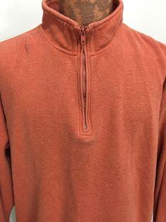 Orvis Peach Orange 1/2 Zip Cotton Pullover Sweatshirt Mens L #Orvis #SweatshirtCrew