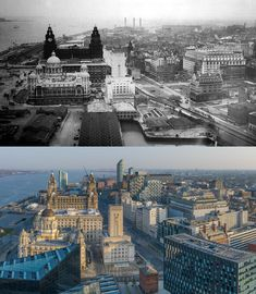 Mann Island, Pier Head and north Liverpool, and 2019 Liverpool Waterfront, Liverpool Docks, Liverpool History, Old Pictures, Old Photos, 1940s, Buildings, Louvre, Island