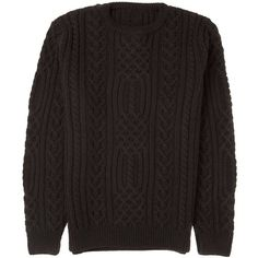 Osso London - Winston Merino Wool Cable Knit Crew Neck Jumper ($220) ❤ liked on Polyvore featuring men's fashion, men's clothing, men's sweaters, mens crewneck sweaters, mens merino sweater, mens cable sweater, mens chunky knit sweater and mens graphic sweaters