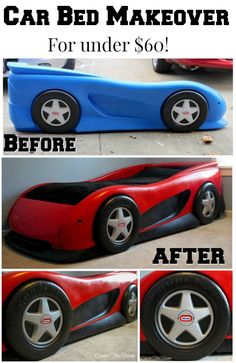Make your kids car bed EPIC with this easy makeover! All it takes it a little work and some spray paint! Race Car Bedroom, Garage Bedroom, Kids Car Bed, Toddler Car Bed, Diy Auto, Truck Bed, Truck Room, Kid Beds, Courses