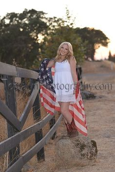 Photo from Senior Portraits collection by Tomalyn Photography senior girl with American Flag