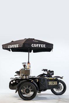 It's a Man's World Food Cart Design, Food Truck Design, Coffee Carts, Coffee Drinks, Bike Coffee, Food Trucks, Coffee Food Truck, Mobile Coffee Shop, Bike Food