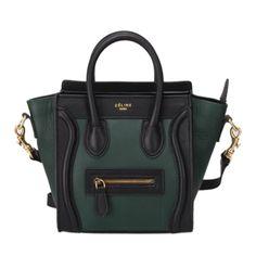Celine Nano Dark Green Black Drummed Leather Luggage Boston Bag