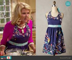 Pam's blue floral apron on The Bold and the Beautiful.  Outfit Details: https://wornontv.net/64996/ #TheBoldandtheBeautiful