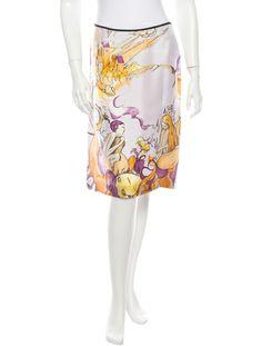 Prada S/S 2008 fairy print silk skirt
