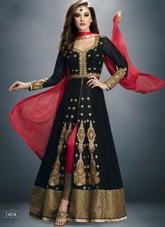 Beautiful black and red stone work wedding anarkali suit  http://www.angelnx.com/Salwar-Kameez