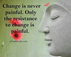 Change is never painful. Only the resistance to change is painful ~ Buddhism