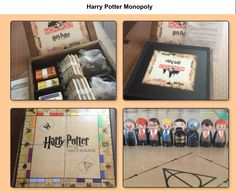 """Just finished making this Harry Potter Monopoly set for my boys for Christmas. The design for the board, money, properties, and cards were posted on """"instructables"""". I painted the tokens on peg dolls. Harry Potter Wands Diy, Harry Potter Monopoly, Harry Potter Games, Harry Potter Jewelry, Harry Potter Outfits, Harry Potter Love, Harry Potter Universal, Harry Potter World, Harry Potter Hogwarts"""