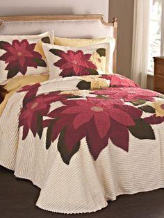 Poinsettia Chenille Bedspread   Blair