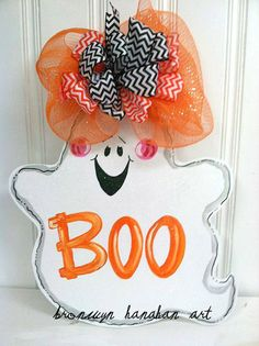Boo to You! Ghost Door Hanger    Item is hand painted + sprinkled with glitter!    Personalization Ideas:  - Boo  - Boo to You  - Boo Yall  -