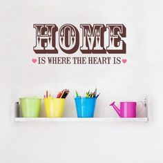 """This home wall sticker features the quote """"home is where the heart is"""" in a beautiful typography. This decorative stickers are easy to apply and remove. Vinyl wall decor is a great choice to upgrade your home & office space, simply peel & stick Wall Stickers Quotes, Wall Quotes, Vinyl Wall Decals, Dinning Room Wall Decor, Dining Room Walls, Traditional Wall Decor, Famous Inspirational Quotes, Motivational Quotes, Startup Office"""