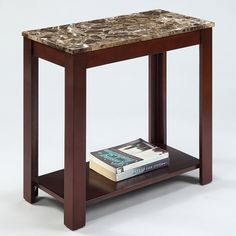 Marble Top Cappuccino Wood Side End Table | Overstock.com