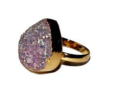 24k Gold Electroformed Light Purple Pear Shape by RareGemsNJewels