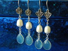 Faceted Blue Chalcedony White Fresh Water Pearl by DaKsJewelry