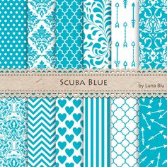Blue Digital Paper: Scuba Blue Pantone Spring 2015 by Lunabludesign