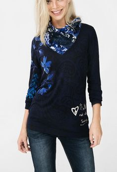 Desigual Long Sleeves Tshirt Navy