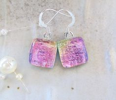 Petite, Dichroic Glass Earrings, Fused Glass Jewelry, Dangle, Pink, Yellow, A7