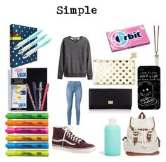"""Back to School - Outfit #9 + Supplies"" by bubbles-a ❤ liked on Polyvore featuring H&M, J.Crew, Givenchy, Sharpie, Jonathan Adler, bkr, 7 For All Mankind, Wet Seal, Kate Spade and Dolce&Gabbana"