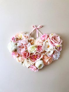 Mothers day gift Heart Flower girl gift Baby pink Nursery