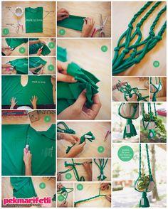 Yazın bahçemizde ve balkonumuzda kullanmak için birlikte saksı askısı yapalım mı? Malzemeler Penye tişört Makas Saksı askısı nasıl yapılır? Öncelikle tişör.. Saksı askısı yapalım mı?..