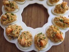 Crawfish stuffed deviled eggs:  INGREDIENTS 8 large eggs 2 tablespoons butter 1/2 small onion, finely diced 1/2 stalk celery, finely diced 1 small jalapeno, finely diced 1/2 small poblano, seeded and finely diced 1/4 teaspoon cay...