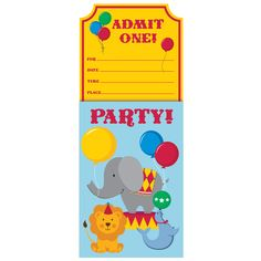 Circus Time Invitation Vertical Pop Up/Case of 48 Tags: Circus Time; Invitation; First Birthday; first birthday party ideas;first birthday party decorations; https://www.ktsupply.com/products/32786326796/Circus-Time-Invitation-Vertical-Pop-UpCase-of-48.html