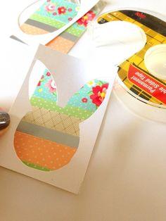 Washi-Tape Osterkarten basteln mit Kindern-Osterhase-Ausschnitt