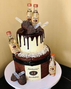 21st Birthday Cake For Guys, Alcohol Birthday Cake, Birthday Desert, 21st Cake, Homemade Birthday Cakes, Birthday Cakes For Men, Themed Birthday Cakes, Themed Cakes, 50th Birthday