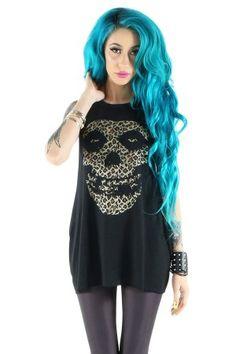Women's Misfits Leopard Fiend Skull Tank - Black •rebelcircus •punkrock •rockabilly •psychobilly •alternativefashion •clothing •crimsonghost •misfits •skull + of course, •blue hair