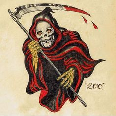 Traditional Tattoo Old School, Traditional Flash, Traditional Tattoo Flash, American Traditional, Traditional Tattoo Inspiration, Antique Tattoo, Grim Reaper Tattoo, Biker Tattoos, Old Tattoos