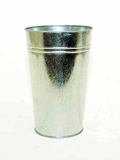 GALVANIZED FRENCH FLOWER BUCKET-13 INCHES HIGH X 8 INCHES DIAMETER.