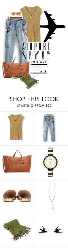 """""""Jet Set: Airport Style"""" by dawn-scott ❤ liked on Polyvore featuring Madewell, Kate Spade, Prada, Gorjana, Forzieri and Wolf & Moon"""