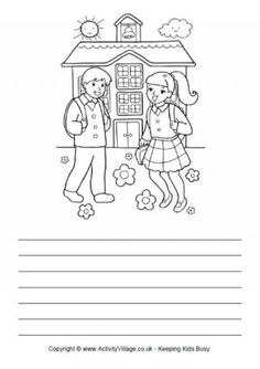 Kids can use these delightful illustrated school story paper pages as inspiration for their own stories or journal writing. Perfect for Back to School. Teaching Writing, Writing Skills, Teaching English, New School Year, I School, Creative Writing Worksheets, Picture Comprehension, Hindi Worksheets, Happy Birthday Celebration