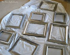 """Ridiculously Easy {DIY} Aged Finishes - Give a random frame, spray-painted silver, a beautiful """"aged"""" finish that makes it look more interesting - gives it depth and character."""
