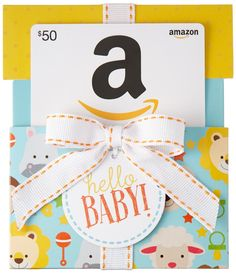 Amazon $50 Gift Card in a Hello Baby Reveal (Classic White Card Design): Gift Cards