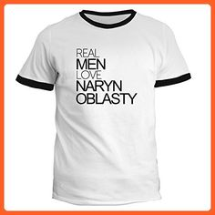 Idakoos - Real men love Naryn Oblasty - Cities - Ringer T-Shirt - Cities countries flags shirts (*Partner-Link)