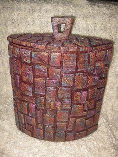 Cardboard mosaic. Handmade from recycled cardboard. Follow Link för tutorial. Nice blog!