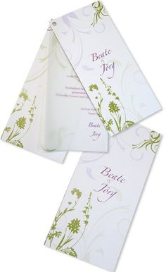 Fächereinladung - Ösenkarte - Blühende Ornamente Wedding Invitations, Tableware, Bunt, Unique Wedding Invitations, Card Wedding, Newlyweds, Marriage Anniversary, Invitation Cards, Life