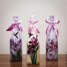 """Персональные подарки ручной работы. Ярмарка Мастеров - ручная работа декоративное оформление бутылки """"Запах весны"""". Handmade."""