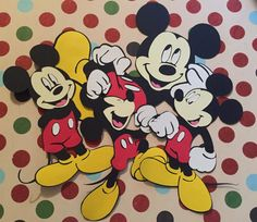 Set of 4  6  Mickey Mouse Die Cuts Full Body by PinkPaperPrincess1