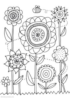 Embroidery Stitches, Embroidery Patterns, Hand Embroidery, Colouring Pages, Coloring Books, Flower Doodles, Doodle Flowers, Art Drawings For Kids, Spring Art