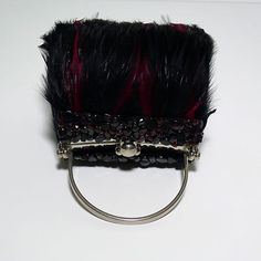 666374be98 Moo Roo by Mary Norton Burgundy and Black Feather Evening Handbag