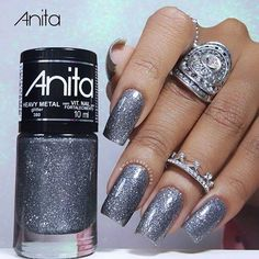 48 Ideas Nails Silver Gold Beautiful For 2019 Rose Gold Nail Polish, Gold Manicure, Rose Nail Art, Manicure And Pedicure, Glitter Nails, Fun Nails, Silver Glitter, Stiletto Nails, Coffin Nails