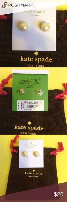 Brand new Kate Spade Pearl Gumdrop Studs Earrings Brand new with pouch. Gold tone hardware. Price firm. kate spade Jewelry Earrings