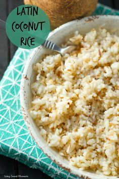 Colombian Coconut Rice Recipe: this latin rice is bursting with flavor and texture. A sweet and salty side dish that is ready in minutes. Perfect for weeknight dinners and entertaining too.  More on www.livingsweetmoments.com