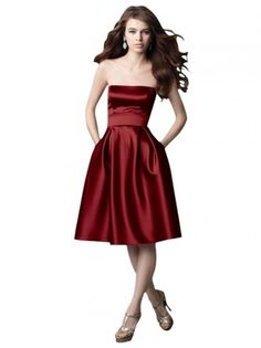 MADE TO ORDER: weeks. Sophisticated short dress perfect for formal and cocktail events featuring strapless A Line silhouette, mid-length skirt with high waist belt. Simple satin dress in solid cherry red colour. Available in all colors you want.