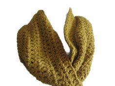 Crochet Cowl Infinity Scarf Chunky Scarf in Mustard Gold - Unisex Mens Womens Hand Crocheted Made in Ireland Crochet Scarves, Crochet Clothes, Chunky Scarves, Fashion 2015, Crochet Fashion, Cowls, Hand Crochet, Originals, Mustard